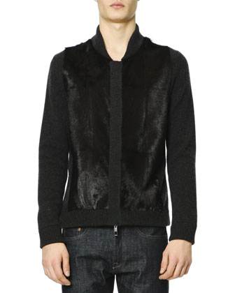 Cashmere Zip-Front Sweater with Fur Panels on Front