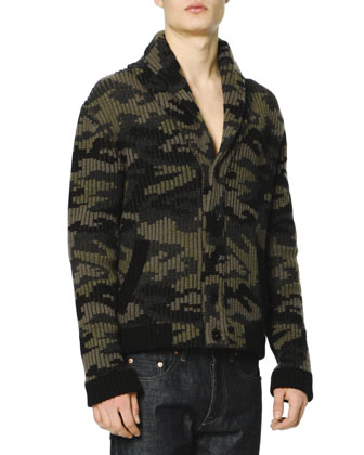 Camo Shaw-Collar Sweater