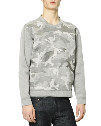 Camo-Front Sweatshirt, Gray