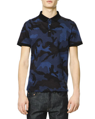 Short-Sleeve Camo Polo Shirt, Navy/Royal Blue/Black