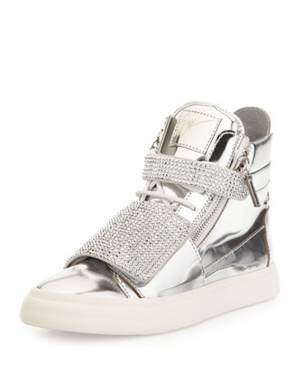 Men's Silver-Stud Mirror-Leather High-Top, Mirror Argento