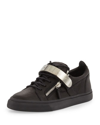 Men's Zip & Buckle Low-Top Sneaker, Black