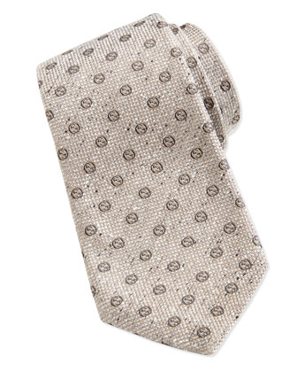 GG Print Woven Tie, Light Brown