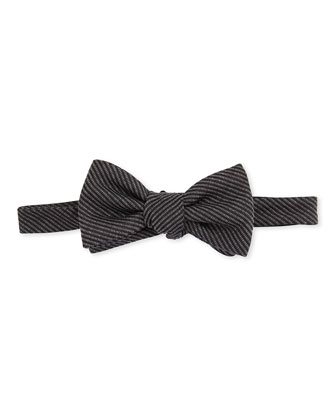 Woven Striped Bow Tie, Black/Gray