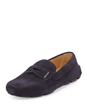 Suede Penny Driver Shoe, Navy