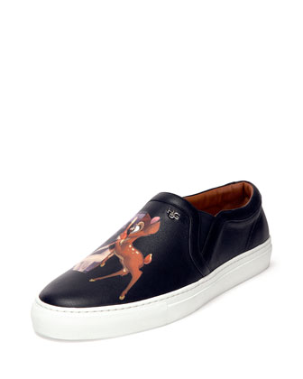 Bambi-Print Leather Skate Shoe, Black