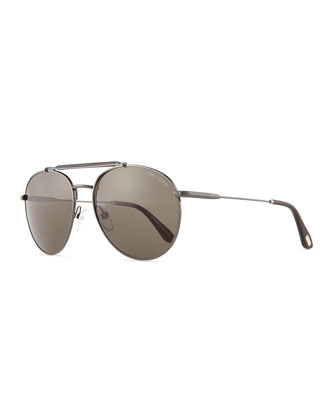 Colin Round Aviator Sunglasses, Gunmetal
