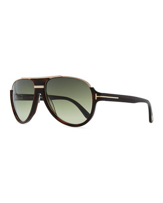 Dimitri Rimless Aviator Sunglasses, Dark Brown