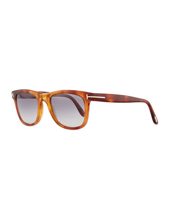 Leo Acetate Sunglasses, Light Brown