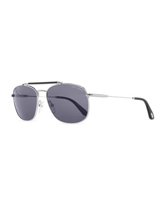 Marlon Metal Navigator Sunglasses, Light Gray