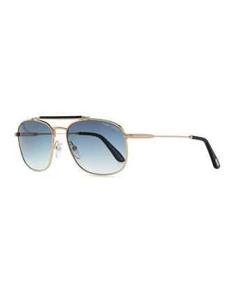 Marlon Aviator Sunglasses, Rose Golden