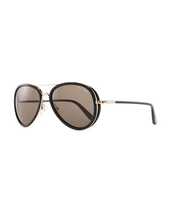 Miles Aviator Sunglasses, Rose Golden