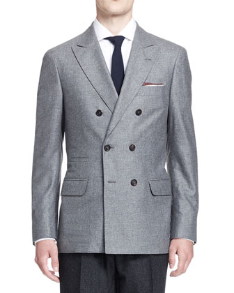 Double-Breasted Cashmere/Silk Jacket, Light Gray