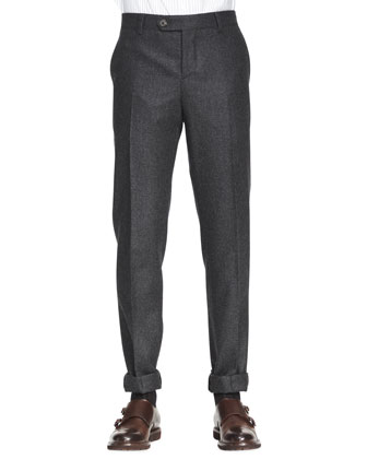 Single-Pleat Wool Trousers
