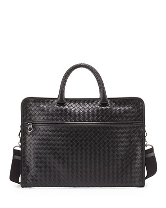 Men's Small Woven Leather Briefcase, Black