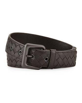 Men's Intrecciato Leather Belt, Brown