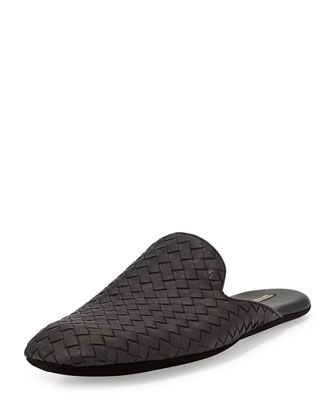 Men's Woven Leather Scuff Slipper