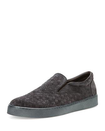 Woven Slip-On Skate Shoe, Medium Gray