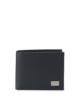 Leather Bi-Fold Wallet, Navy