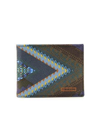 Print Leather Wallet, Blue Multi