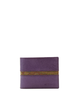 Paisley-Print Leather Wallet, Purple