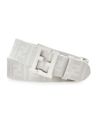 Men's Zucca College Belt, White Palladium