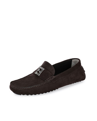 FF-Buckle Suede Driver, Dark Brown