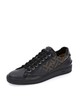 Zucca Leather Low-Top Sneaker, Tobacco/Black
