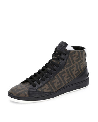 Zucca High-Top Leather Sneaker, Brown/Black