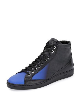 Zucca Ombre Leather High-Top Sneaker, Neon Blue