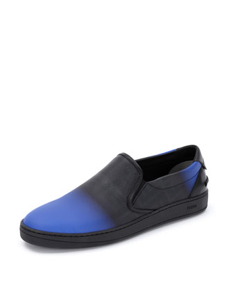 Zucca Ombre Leather Slip-On, Neon Blue
