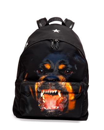 Rottweiler Nylon Backpack, Black