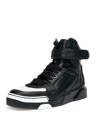 Contrast-Toe High-Top Sneaker, Black/White