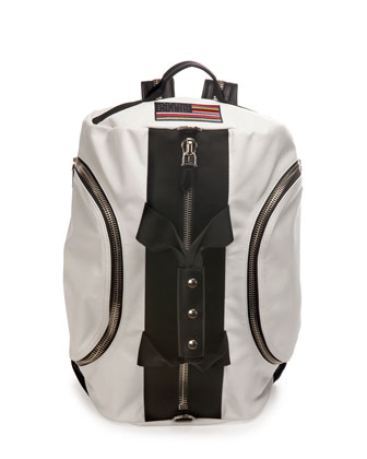 Leather Backpack/Duffle Bag, White