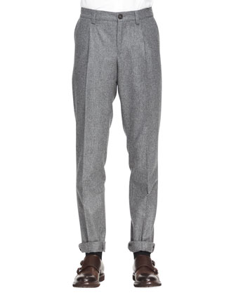 Single-Pleat Flannel Pants