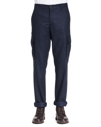 Wool-Flannel Cargo Pants, Ink