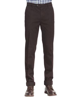Cotton Flat-Front Pants, Ebony