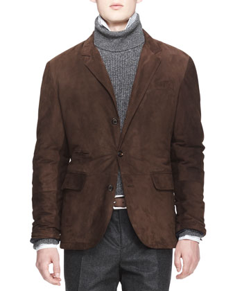 Suede Three-Button Thermore Jacket