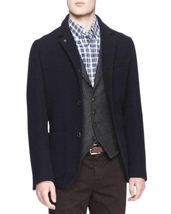 Single-Breasted Wool-Silk Jacket