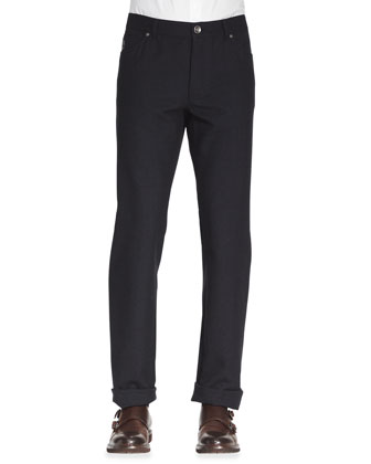 Five-Pocket Cotton-Wool Pants, Ink