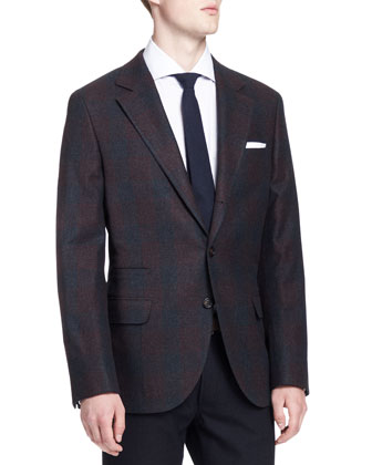 Plaid Notch-Lapel Jacket, Gray/Wine