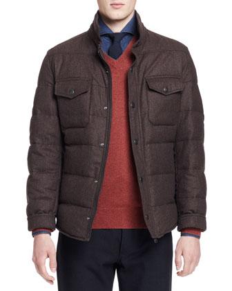 Down-Fill Shirt Jacket, Brown
