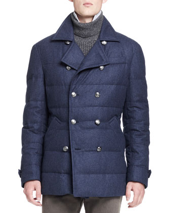 Quilted Wool-Blend Peacoat, Blue