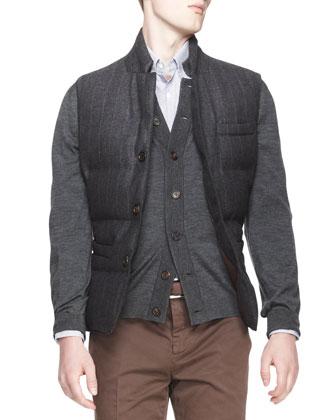 Buttoned Pinstripe Puffer Vest