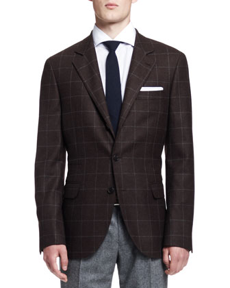 Windowpane Two-Button Jacket, Brown