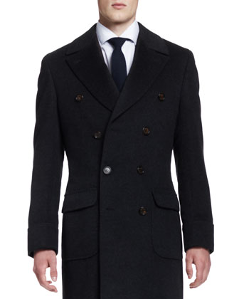 Double-Breasted Cashmere Overcoat, Anthracite