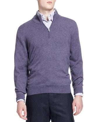 2-Ply Half-Zip Pullover, Violet