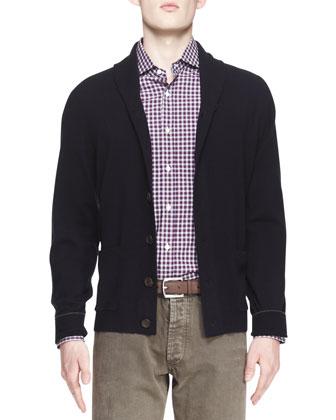 Buttoned Cashmere Shawl-Collar Cardigan