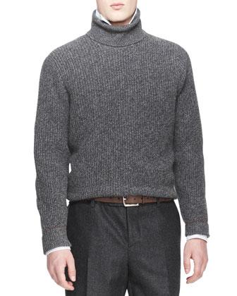 Melange Cashmere Shaker-Knit Sweater