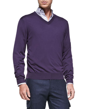 Fine-Gauge V-Neck Sweater, Eggplant